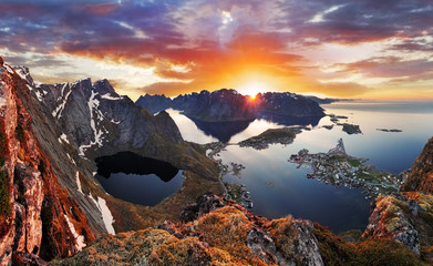 Garden Poster Scandinavia Mountain coast landscape at sunset, Norway