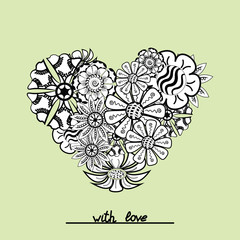 Floral zentangle heart object in vector. Hand draw.