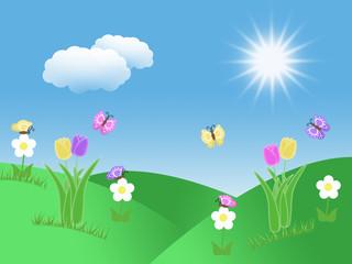 Fotobehang Lieveheersbeestjes spring garden background with tulips butterflies illustration