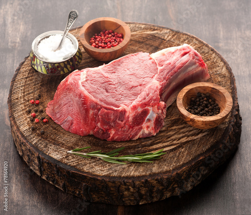 Fototapete Raw meat Ribeye steak entrecote