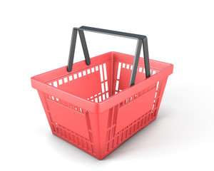 Empty red plastic shopping basket clipping path