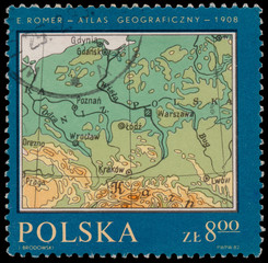 Stamp printed in Poland shows Map of Poland