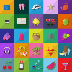 Flat Summer Icons Set - Isolated On Background