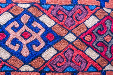 Colorful traditional pattern close up