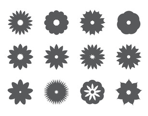 set of vector silhouette flower icons