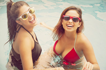 Happy Friends in Swimming Pool