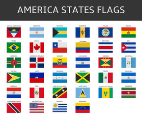 flag of america states vector set
