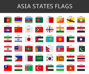 flag of asia states vector set
