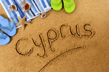Cyprus beach writing