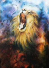 airbrush painting of a roaring lion on a abstract cosmical back