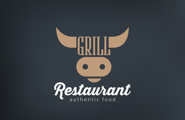 Logo Beef Grill BBQ restaurant bar design. Barbecue Cow