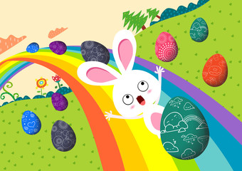 happy easter eggs with rainbow colorful