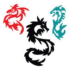 pattern with Asian Dragon Tribal Tattoo
