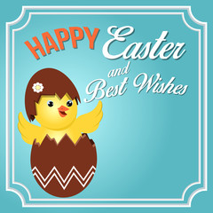 Happy Easter and Best Wish. Easter Chick Vector