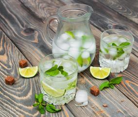 Cold fresh lemonade drink