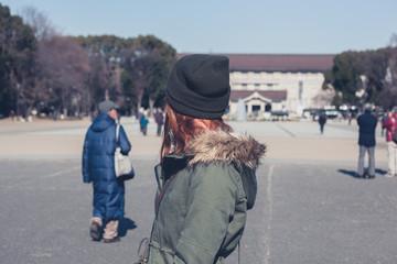 Woman walking in Ueno Park