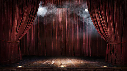 Magic theater stage red curtains Show Spotlight Wall mural
