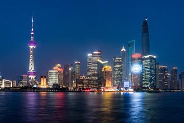 Aluminium Prints City building Pudong landmarks at night in Shanghai, China