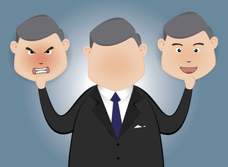 Businessman holding card with a angry face and happy  face