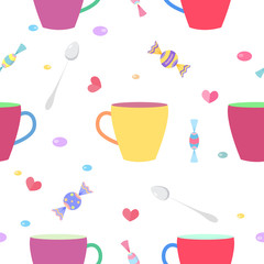 Seamless pattern with a colorful cups
