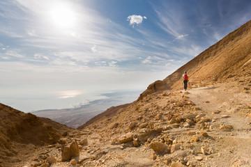 Wall Mural - Woman walking desert mountain.