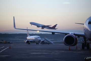 aircraft on takeoff at the airport