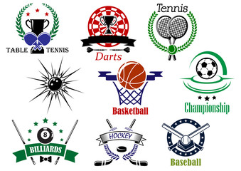 Sports emblems and logo with heraldry design elements