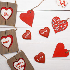 Sweet things for Valentine's Day. Heart, cookies, photo frame