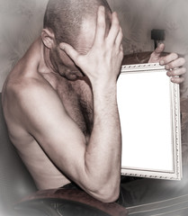 Man holds a picture