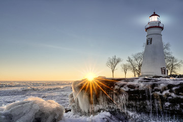 Marblehead Lighthouse Winter Sunrise Wall mural