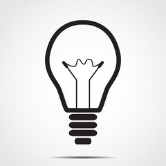Icon bulb with shadow vector illustration