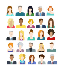 Set of people icons in flat style with faces