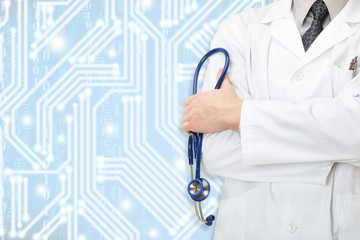 Doctor with stethoscope and blue circuit on background