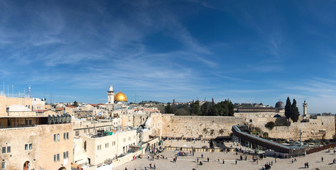 Western Wall and Dome of the Rock in the old city of Jerusalem,