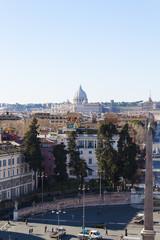 St. Peter's Cupola from Piazza del Popolo Pincio Hill - Rome
