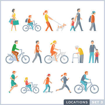 People on the street. Neighbors. Flat icons