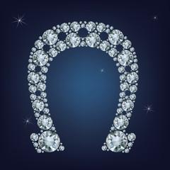 Lucky horseshoe made a lot of diamonds