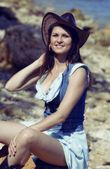 Cowgirl woman smiling happy.