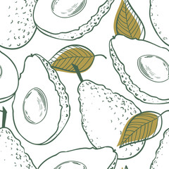 Outline eamless pattern with avocado and leaf
