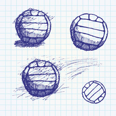 volleyball ball sketch set on paper notebook