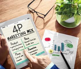 Digital Online 4P Marketing Mix Working Concept