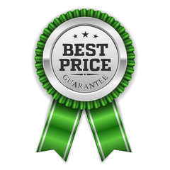 Silver best price badge with green ribbon on white background