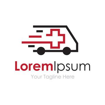 Ambulance van vehicle speeding simple business icon logo