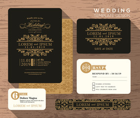 Vintage classic wedding invitation set design Template