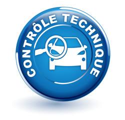 Fototapete - contrôle technique sur bouton bleu