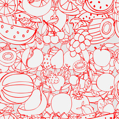 Seamless pattern with set of sweet fruits and berries. Apples, w