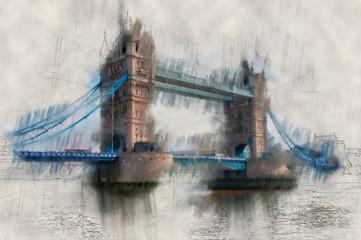 Paint effect vintage view of London Tower Bridge