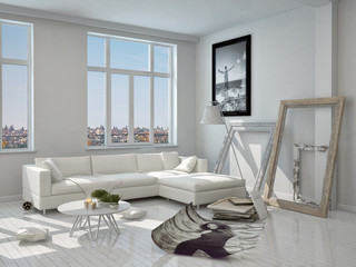 Modern Architectural White Living Room Design