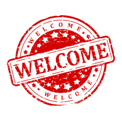 Damaged Round red stamp with the words - welcome - vector