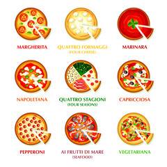 Colorful icons for classic Italian pizza